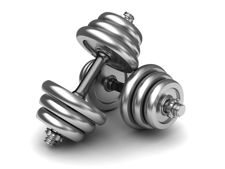 kilos: 3d illustration of dumbells pair over white background