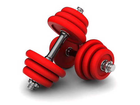 kilos: 3d illustration of two red dumbells over white background