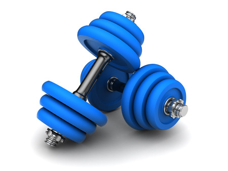 kilos: 3d illustration of two blue dumbells over white background Stock Photo