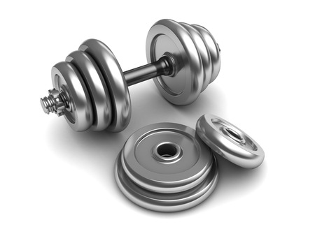kilos: 3d illustration of dumbell set over white background Stock Photo