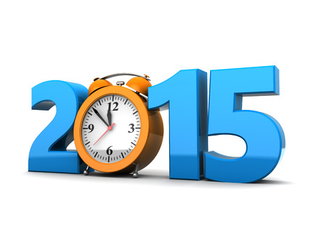 3d illustration of 2015 year sign and clock, over white background