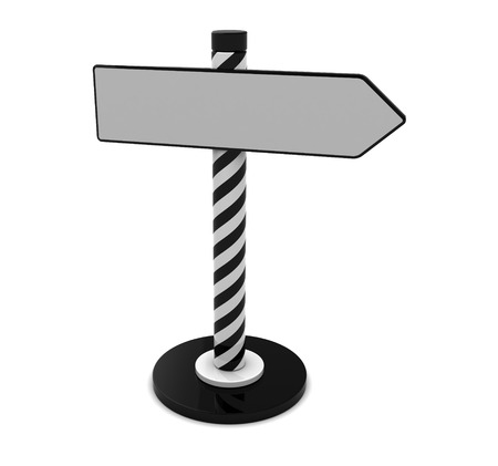 3d illustration of index stand with direction arrow, over white illustration