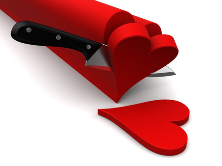 vanish: abstract 3d illustration of knife slicing hearts Stock Photo