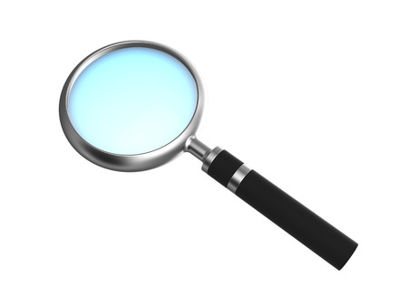 magnification: 3d illustration of magnifying glass isolated over white