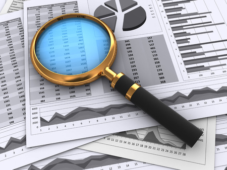 real estate growth: 3d illustration of financial papers and magnifying glass Stock Photo