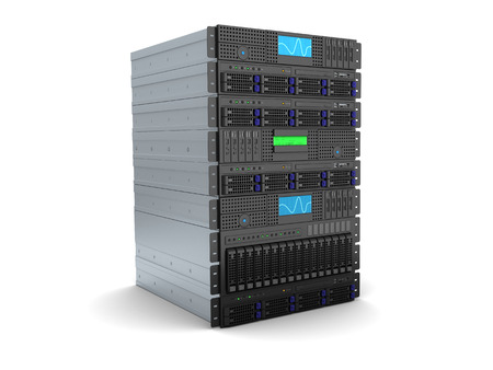 3d illustration of server rack stand over white background Standard-Bild