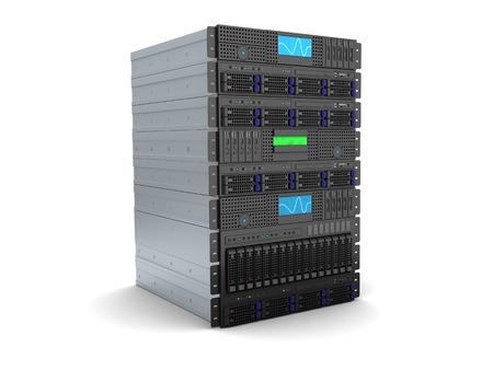 3d illustration of server rack stand over white background Stock Photo
