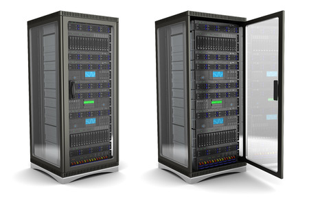 meseros: Ilustración 3D de rack de servidores stand de abrir y cerrar, sobre fondo blanco
