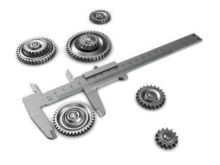 sliding caliper: 3d illustration of caliper and gear wheels