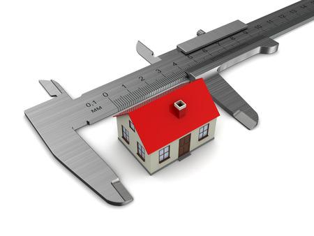 sliding caliper: measuring house model, over white background