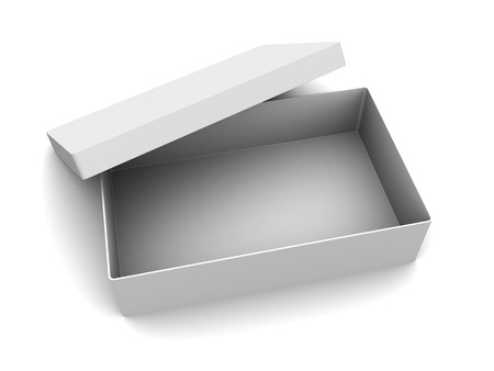 open gift box: 3d illustration of white empty box over white background
