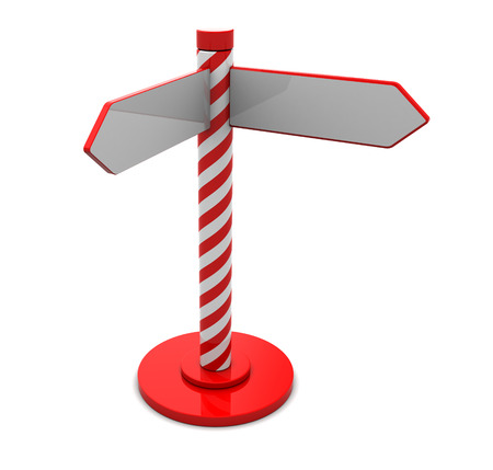 3d illustration of index stand with two ways, over white illustration