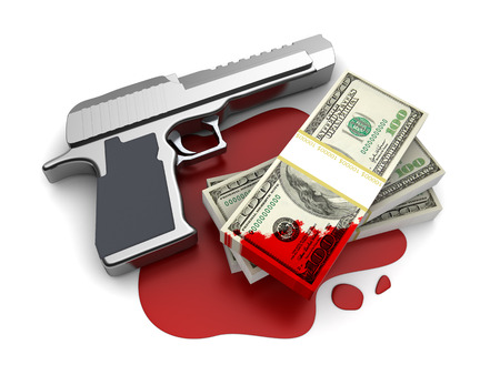 delinquency: 3d illustration of gun and blood money, over white background