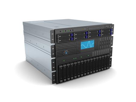 3d illustratie van de server rack op witte achtergrond staan Stockfoto