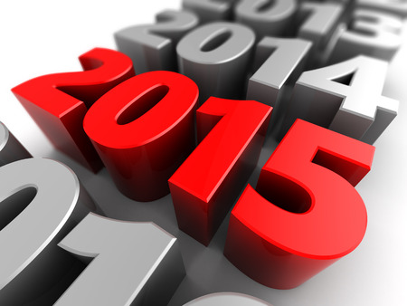 abstract 3d illustration of years row, 2015 new year