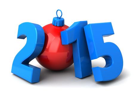 3d illustration of 2015 new year sign over white background illustration