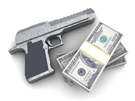 illegality: 3d illustration of pistol and money, over white background