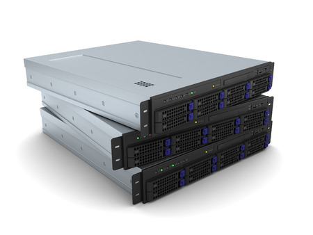 server rack: 3d illustration of three servers over white background Stock Photo