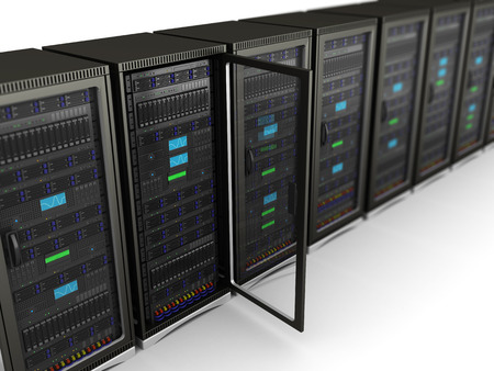 3d illustration of network servers row, one with door open Stock Photo