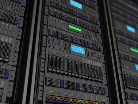 3D-afbeelding van de server rack stnad close-up achtergrond