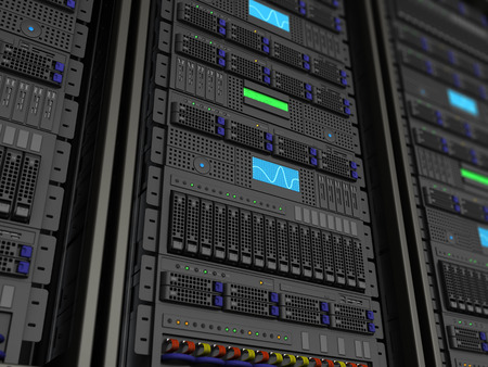 3d illustration of server rack stnad closeup background