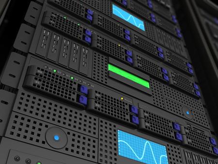 renderfarm: 3d illustration of server stand closeup background render Stock Photo
