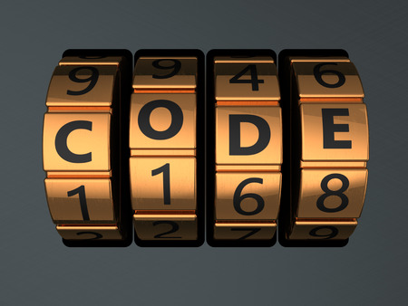 code lock: 3d illustration of code lock dial with text code on it