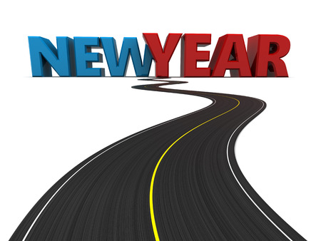 replaced: 3d illustration of asphalt road with new year sign at the end