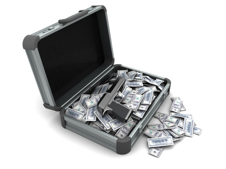 illegality: 3d illustration of suitcase with gun and money inside