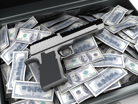 illegality: 3d illustration of gun and money heap, crime concept