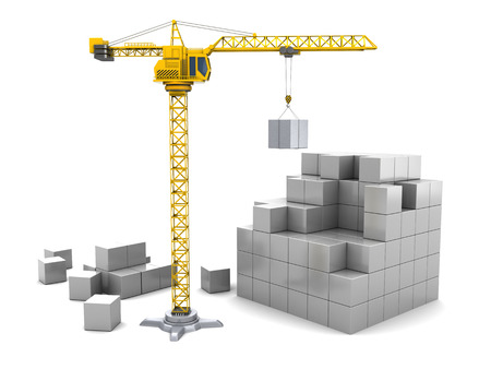 construction plan: 3d illustration of cubes construction with crane tower