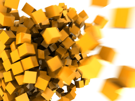 colrful: abstract 3d illustration of orange cubes background