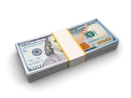 greenbacks: 3d illustration of hundred dollar bills in the stack