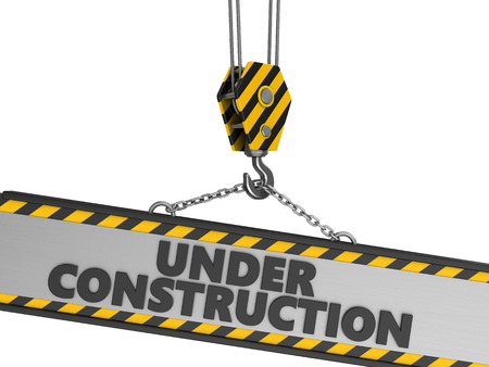 new construction: 3d illustration of crane hook and under construction sign over white background