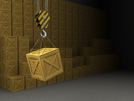 hooks: 3d illustration of warehouse and crane hook with crate