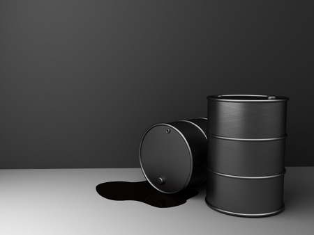 exporter: 3d illustration of oil barrels over gray background with copy space Stock Photo