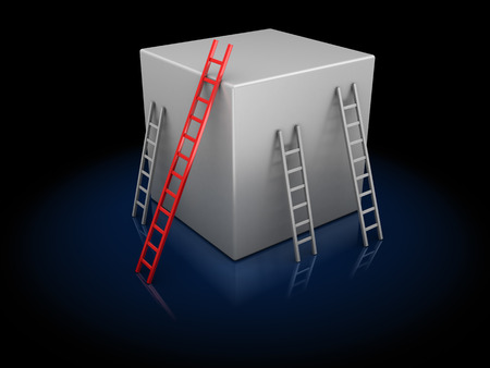 achivement: abstract 3d illustration of cube and ladders, competition concept