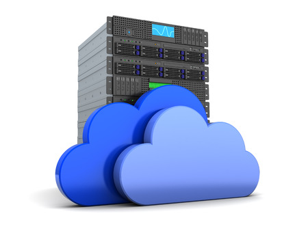 3d illustration of server computer and cloud symbol, over white Фото со стока