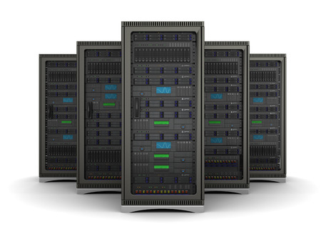 mainframe computer: server racks standing in a row on a white background