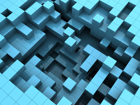 computer crash: abstract 3d illustration of blue cubes background