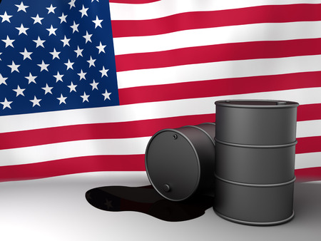 exporter: 3d illustration of oil barrels and USA flag Stock Photo