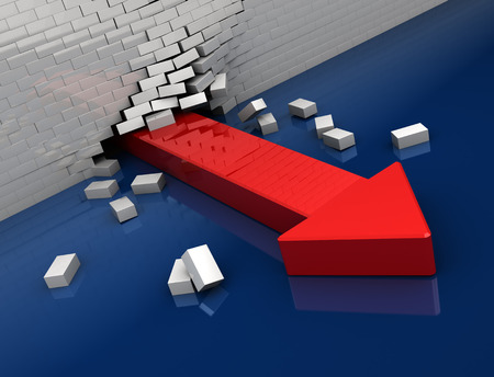 obstacle: 3d illustration of red arrow breaking whit brick wall
