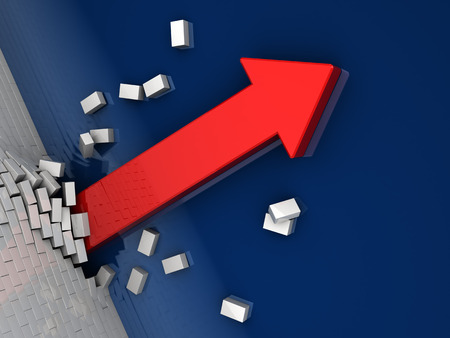 escalating: 3d illustration of strong arrow breaking brick wall Stock Photo