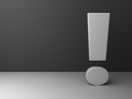 grayscale: 3d abstract grayscale exclamation mark background