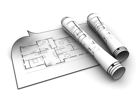 house plan: 3d illustration of rolled blueprints over white background