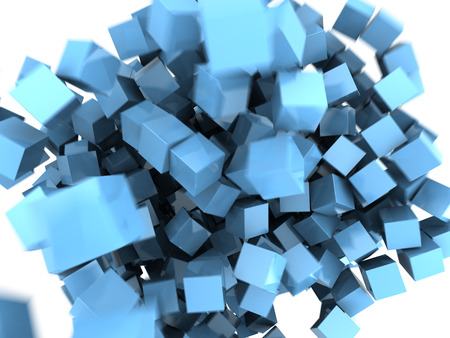 connection block: abstract 3d illustraton of blue cubes splash background