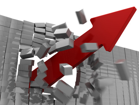 boundaries: 3d illustration of red arrow breaking wall Stock Photo