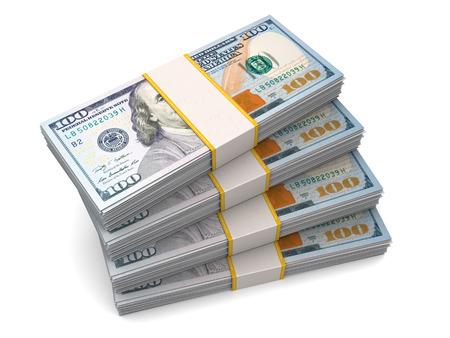 dollar bills: four packs of hundred dollar bills over white background