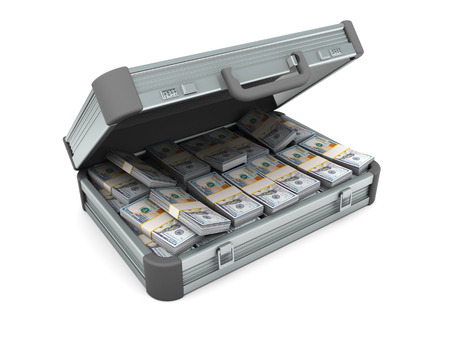 attache: 3d illustration of open attache case full of money