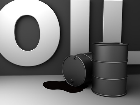 exporter: abstract 3d illustration of barrels and sign oil Stock Photo